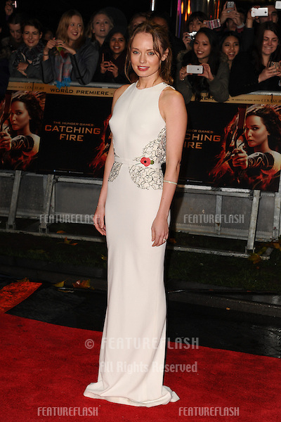 "Laura Haddock arriving for the World Premiere of ""The Hunger Games: Catching Fire"" in Leicester Square, London. 11/11/2013 Picture by: Steve Vas / Featureflash"