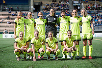 Seattle, WA - Sunday, May 22, 2016: Seattle Reign FC starting IX for a regular season National Women's Soccer League (NWSL) match at Memorial Stadium.
