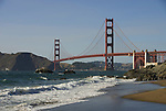 San Francisco: Baker Beach with Golden Gate Bridge in background.  Photo # 2-casanf83457.  Photo copyright Lee Foster