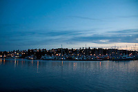 Approaching Friday Harbor at Dusk Aboard the MV Elwha Ferry, San Juan Island, Washington, US
