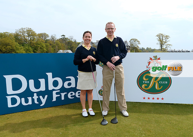 9 May 2016;  Brenda Johnston and Padraig Masterson, from Balbriggan Golf Club.  Dubai Duty Free Irish Open - All-Ireland Final for Pro-Am Qualifying Competition. The K Club Smurfit Course, Straffan, Co. Kildare, Ireland. <br /> Picture: Golffile | Caroline Quinn<br /> <br /> All photo usage must carry mandatory copyright credit (&copy; Golffile | Caroline Quinn)