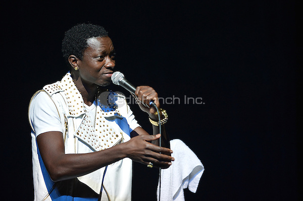 MIAMI - MAY 27: Comedian Michael Blackson performs during 5th Annual Memorial Weekend Comedy Festival at the James L. Knight Center on May 27, 2010 in Miami, Florida. (photo by: MPI10/MediaPunch Inc.)
