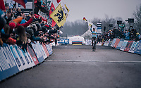 defending World Champion Wout Van Aert (BEL/Crelan-Charles) makes it 3 World Champion titles in a row<br /> <br /> Elite Men's Race<br /> 2018 CX World Championships<br /> Valkenburg - The Netherlands