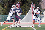 Manhattan Beach, CA 02-11-17 - Bo Kendall (Santa Clara #17), Giovanny Escobar (Loyola Marymount #30) and Ren-Taylor Chang (Loyola Marymount #20) in action during the MCLA non-conference game between LMU (SLC) and Santa Clara (WCLL).  Santa Clara defeated LMU 18-3.