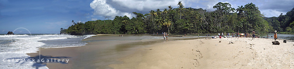 Panoramic multishot Blanchisseuse Bay and the Marianne River at Easter