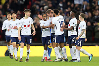 Jan Vertonghen of Tottenham is congratulated after scoring the third goal during Tottenham Hotspur vs AFC Wimbledon, Emirates FA Cup Football at Wembley Stadium on 7th January 2018