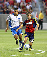 Pablo Campos and Ned Grabavoy in the San Jose Earthquakes @ Real Salt Lake 1-1 draw at Rio Tinto Stadium in Sandy, Utah on July 03, 2009