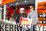 Traders from Listowel promoting a shop local campaign this Christmas McKennas Experts.  Bernadette Burke and Ken Hayes