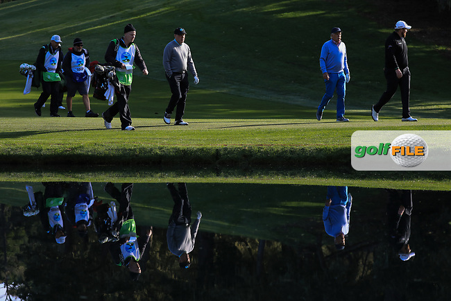 Dermot Desmond (A) and Shane Lowry (IRL) during the first round of the AT&amp;T Pro-Am, Pebble Beach Golf Links, Monterey, California, USA. 07/02/2019<br /> Picture: Golffile | Phil Inglis<br /> <br /> <br /> All photo usage must carry mandatory copyright credit (&copy; Golffile | Phil Inglis)
