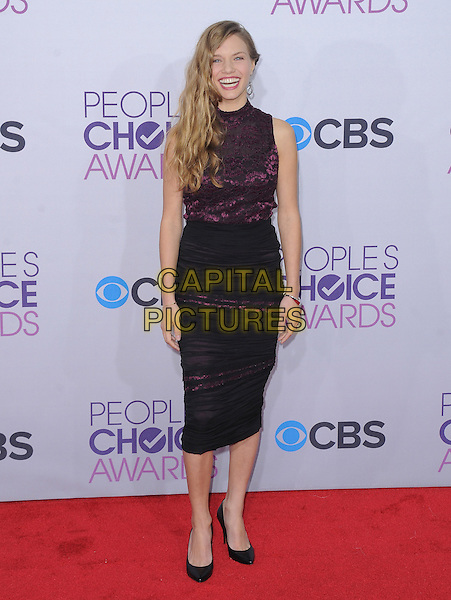 Tracy Spiridakos.The 2013 People's Choice Awards held at Nokia Live in Los Angeles, California 9th January 2013                                                                   .full length dress skirt lace purple sleeveless black skirt.CAP/DVS.©DVS/Capital Pictures.