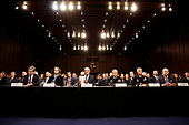 """Intelligence and security department heads, from left to right: Director Christopher Wray, Federal Bureau of Investigation (FBI), Director Gina Haspel, Central Intelligence Agency (CIA), Director Daniel Coats, Office of the Director of National Intelligence (ODNI), Director General Robert Ashley, Defense Intelligence Agency (DIA), Director General Paul Nakasone, National Security Agency (NSA), and Director Robert Cardillo, National Geospatial-Intelligence Agency (NGA) as they testify before the United States Senate Select Committee on Intelligence during an open hearing on """"Worldwide Threats"""" on Capitol Hill in Washington, DC on Tuesday, January 29, 2019.<br /> Credit: Martin H. Simon / CNP"""