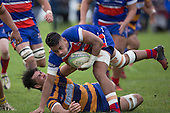 Teodore Solipo drags Savelio Ropati to ground early in the second half. Counties Manukau Premier Club Rugby game between Patumahoe and Ardmore Marist, played at Patumahoe on Saturday July 9th 2016.<br /> Ardmore Marist won the game 33 - 24 after leading 18 - 12 at halftime. Photo by Richard Spranger.