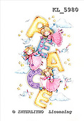 Interlitho, CHRISTMAS CHILDREN, WEIHNACHTEN KINDER, NAVIDAD NIÑOS, paintings,+Santa,++++,3 angels,doves,peace,KL5980,#xk# stickers,peace