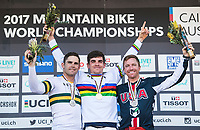 Picture by Alex Broadway/SWpix.com - 10/09/17 - Cycling - UCI 2017 Mountain Bike World Championships - Downhill - Cairns, Australia - Mick Hannah of Australia, Loïc Bruni of France and Aaron Gwin of The USA on the podium after the Men's Elite Downhill Final.