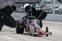 Apr. 26, 2013; Baytown, TX, USA: NHRA top alcohol dragster driver Brandon Pierce during qualifying for the Spring Nationals at Royal Purple Raceway. Mandatory Credit: Mark J. Rebilas-