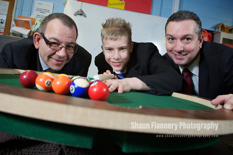 Pix: Shaun Flannery/shaunflanneryphotography.com...COPYRIGHT PICTURE>>SHAUN FLANNERY>01302-570814>>07778315553>>..16th March 2011..........Birley Manufacturing Limited..Supporting a school donation programme of wood offcuts to Handsworth Grange School, Sheffield..Dennis Spears (glasses) and Richard Mayo of Birley Manufacturing pictured with Jack Patchett (year 11)..