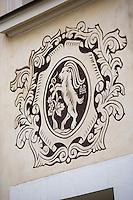 Europe/Pologne/Lublin: détail des peintures murales des maisons de la place du marché-Rynek