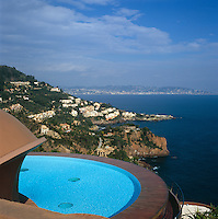 The view of the Cote d'Azur from the circular swimming pool of the Palais Bulles