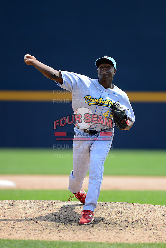 Reading Fightin Phils pitcher Hector Neris #45 during a game against the Trenton Thunder on July 8, 2013 at Arm & Hammer Park in Trenton, New Jersey.  Trenton defeated Reading 10-6.  (Mike Janes/Four Seam Images)