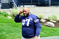 June 7, 2017: New England Patriots defensive lineman Alan Branch (97) walks to practice at the New England Patriots mini camp held on the practice field at Gillette Stadium, in Foxborough, Massachusetts. Eric Canha/CSM