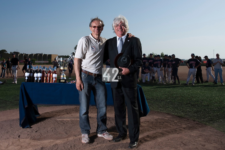 24 May 2009: Gerard Cros and Michel Dussart pose during the 2009 challenge de France, a tournament with the best French baseball teams - all eight elite league clubs - to determine a spot in the European Cup next year, at Montpellier, France. Rouen wins 7-5 over Savigny.