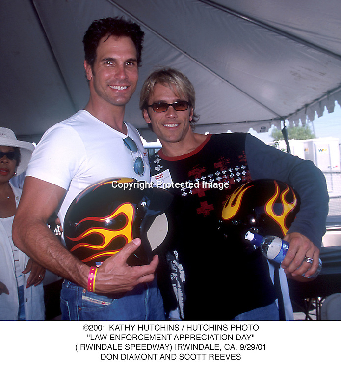 "©2001 KATHY HUTCHINS / HUTCHINS PHOTO.""LAW ENFORCEMENT APPRECIATION DAY"".(IRWINDALE SPEEDWAY) IRWINDALE, CA. 9/29/01.DON DIAMONT AND SCOTT REEVES"