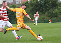 Adam Cummins clears in the Hamilton Academical v Motherwell friendly match played at New Douglas Park, Hamilton on 24.7.12..
