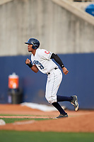Lake County Captains pinch runner Will Benson (29) runs to second base during the first game of a doubleheader against the South Bend Cubs on May 16, 2018 at Classic Park in Eastlake, Ohio.  South Bend defeated Lake County 6-4 in twelve innings.  (Mike Janes/Four Seam Images)