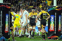 Ardie Savea talks to Beauden Barrett during the Super Rugby semifinal match between the Hurricanes and Chiefs at Westpac Stadium, Wellington, New Zealand on Saturday, 30 July 2016. Photo: Dave Lintott / lintottphoto.co.nz
