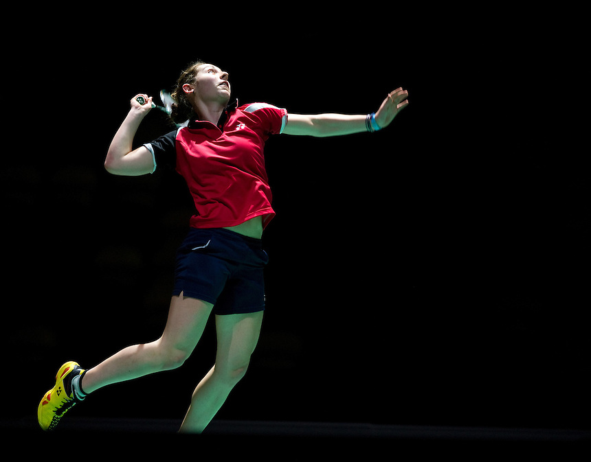 Kirsty GILMOUR (SCO) (5) in action today during her Ladies' Singles Semifinals victory over Kristina GAVNHOLT (CZE) (6)<br /> <br /> Kirsty GILMOUR (SCO) def Kristina GAVNHOLT (CZE) 21-13, 20-22, 21-16<br /> <br /> Photo by Ashley Western/CameraSport<br /> <br /> Badminton - Badminton World Federation Grand Prix Gold 2013 - Day 5 - Saturday 5th October 2013 - Copper Box Arena, Queen Elizabeth II Olympic Park, London<br /> <br /> &copy; CameraSport - 43 Linden Ave. Countesthorpe. Leicester. England. LE8 5PG - Tel: +44 (0) 116 277 4147 - admin@camerasport.com - www.camerasport.com
