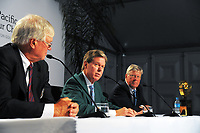 From left, Asia Pacific Golf Confederation chairman Dr David Cherry, Augusta chairman Fred Ridley and R&A chief executive Martin Slumbers on day one of the 2017 Asia-Pacific Amateur Championship day one at Royal Wellington Golf Club in Wellington, New Zealand on Thursday, 26 October 2017. Photo: Dave Lintott / lintottphoto.co.nz