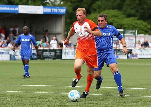 June 17th 2017, Gander Green Lane, Sutton, England; Football Charity Match; Chelsea Legends versus Rangers Legends; Rangers Jorg Albertz brings the ball forward