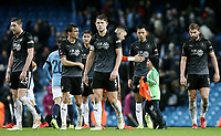 Burnley players look dejected at the final whistle <br /> <br /> Photographer Rich Linley/CameraSport<br /> <br /> Emirates FA Cup Fourth Round - Manchester City v Burnley - Saturday 26th January 2019 - The Etihad - Manchester<br />  <br /> World Copyright © 2019 CameraSport. All rights reserved. 43 Linden Ave. Countesthorpe. Leicester. England. LE8 5PG - Tel: +44 (0) 116 277 4147 - admin@camerasport.com - www.camerasport.com