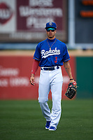 Rancho Cucamonga Quakes outfielder Jeren Kendall (3) warms up before a California League game against the Lake Elsinore Storm at LoanMart Field on May 20, 2018 in Rancho Cucamonga, California. Rancho Cucamonga defeated Lake Elsinore 6-2. (Zachary Lucy/Four Seam Images)