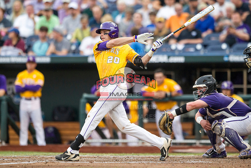 LSU Tigers third baseman Conner Hale (20) follows through on his swing against the TCU Horned Frogs in Game 10 of the NCAA College World Series on June 18, 2015 at TD Ameritrade Park in Omaha, Nebraska. TCU defeated the Tigers 8-4, eliminating LSU from the tournament. (Andrew Woolley/Four Seam Images)