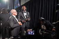 Glen Keane and Kobe Bryant pose backstage with the Oscar&reg; for best animated short film, for work on &ldquo;Dear Basketball&rdquo; during the live ABC Telecast of The 90th Oscars&reg; at the Dolby&reg; Theatre in Hollywood, CA on Sunday, March 4, 2018.<br /> *Editorial Use Only*<br /> CAP/PLF/AMPAS<br /> Supplied by Capital Pictures