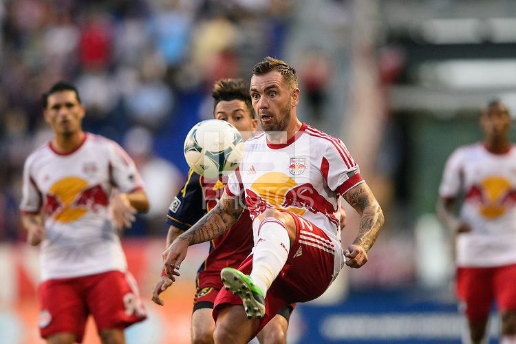Jonny Steele (22) of the New York Red Bulls. The New York Red Bulls defeated Real Salt Lake 4-3 during a Major League Soccer (MLS) match at Red Bull Arena in Harrison, NJ, on July 27, 2013.