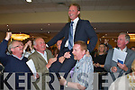 POLL TOPPER: Arthur J Spring of Labour who topped the poll in the County Council and Town Council elections in Tralee is hoisted aloft at the count in the Brandon Hotel on Saturday.