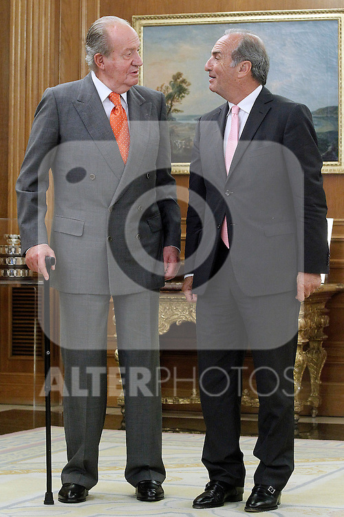 King Juan Carlos I of Spain attends in audience to Gay Montella Ferre-Joaquin Vidal, President of the Organization for the Promotion of National Labor (Organizacion para el Fomento del Trabajo Nacional). June 12 ,2014. (ALTERPHOTOS/Acero)