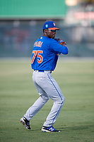GCL Mets pitcher Franklin Parra (75) warms up before a game against the GCL Cardinals on August 6, 2018 at Roger Dean Chevrolet Stadium in Jupiter, Florida.  GCL Cardinals defeated GCL Mets 6-3.  (Mike Janes/Four Seam Images)