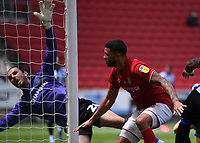28th June 2020; Ashton Gate Stadium, Bristol, England; English Football League Championship Football, Bristol City versus Sheffield Wednesday; Nahki Wells of Bristol City scores with a header past keeper Wildsmith in the 68th minute for 1-2