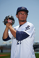 Pensacola Blue Wahoos pitcher Carlos Gonzalez (20) poses for a photo before a double header against the Biloxi Shuckers on April 26, 2015 at Pensacola Bayfront Stadium in Pensacola, Florida.  (Mike Janes/Four Seam Images)