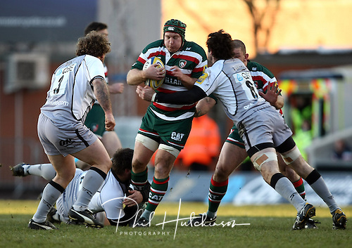 Aviva Premiership match played between Leicester Tigers and Newcastle Falcons RFC  at Welford Road, Leicester, on Saturday 27th November 2010.  Thomas Waldrom
