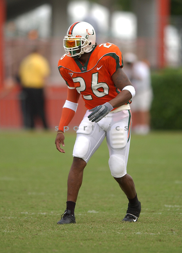 Miami Hurricanes Sean Taylor (26) during a game against Tennessee on November 8, 2003 at the Miami Orange Bowl in Miami, FL. Tennessee beat Miami 6-10.