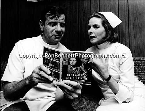 Actor Walter Matthau and Actress Ingrid Bergman, Actor Walter Matthau and Actress Ingrid Bergman, Ingrid Bergman in front of Columbia Pictures Los Angeles California Swedish actress won three Academy Awards tow Emmy Awards and Tony Award for Best Actress, Walter Matthau American actor best known for role as Oscar Madison in The Odd Couple won Academy Award for performance in Billy Wilder film The Fortune Cookie,
