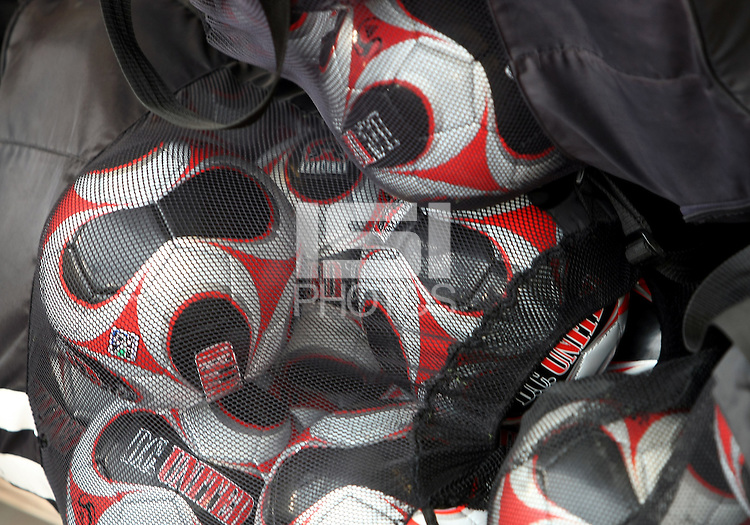 WASHINGTON, D.C. - AUGUST 19, 2012:  Bag of DC United balls before an MLS match between DC United and the Philadelphia Union at RFK Stadium, in Washington DC, on August 19. The game ended in a 1-1 tie.
