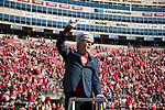 Wisconsin Badgers alumni Steve Miller conducts during the 5th quarter after an NCAA Big Ten Conference football game against the Maryland Terrapins Saturday, October 21, 2017, in Madison, Wis. The Badgers won 38-13. (Photo by David Stluka)