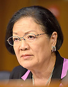 United States Senator Mazie Hirono (Democrat of Hawaii), member, US Senate Committee on Armed Services during the confirmation hearing for Lieutenant General Robert B. Neller, USMC as General and Commandant of the US Marine Corps on Capitol Hill in Washington, DC on Thursday, July 23, 2015.<br /> Credit: Ron Sachs / CNP