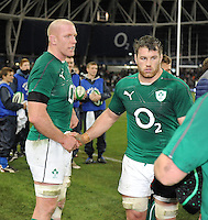 9th November 2013; Paul O'Connell and Sean O'Brien, Ireland, at the end of the game. Autumn International Series, Ireland v Samoa, Aviva Stadium, Dublin. Picture credit: Tommy Grealy/actionshots.ie.