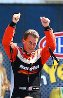 Jun. 2, 2013; Englishtown, NJ, USA: NHRA top fuel dragster driver Clay Millican during the Summer Nationals at Raceway Park. Mandatory Credit: Mark J. Rebilas-